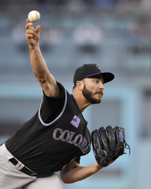 Colorado Rockies starting pitcher Chad Bettis throws during the first inning of the team's baseball game against the Los Angeles Dodgers Tuesday, May 22, 2018, in Los Angeles. (AP Photo/Mark J. Terrill)