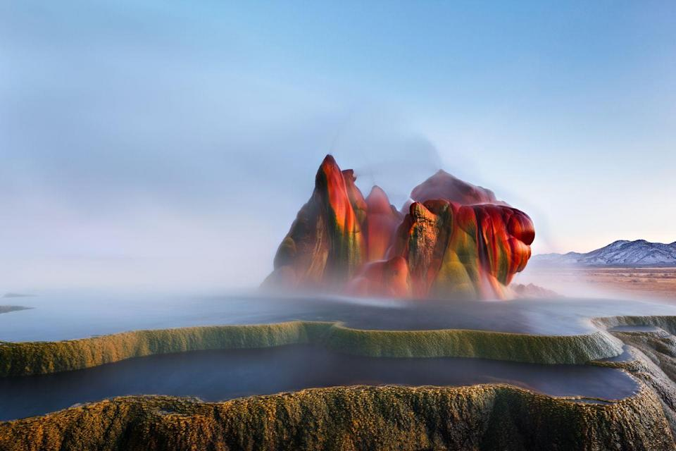 """<p>Because the Fly Geyser was previously located on private land, travelers had to drive along Nevada State Route 34 to view it. Earlier this month, though, the <a href=""""http://journal.burningman.org/2016/06/news/official-announcements/we-bought-fly-ranch/"""" rel=""""nofollow noopener"""" target=""""_blank"""" data-ylk=""""slk:Burning Man"""" class=""""link rapid-noclick-resp"""">Burning Man</a> festival purchased the land, which means the formation will eventually be available for closer public viewing. </p>"""