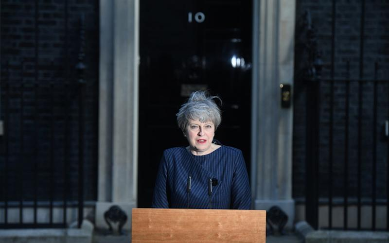 Theresa May making her statement outside Number 10 - Credit: PAUL GROVER for The Telegraph