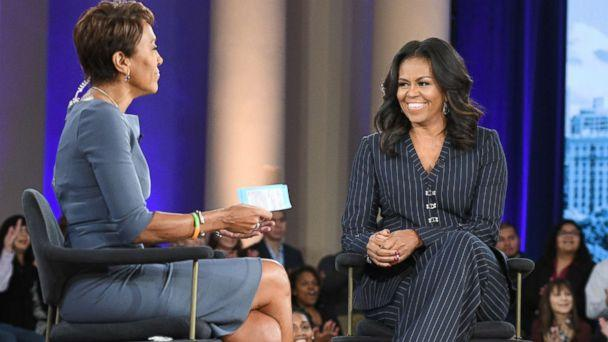 PHOTO: Former first lady Michelle Obama speaks to ABC News' Robin Roberts in Chicago about her memoir, 'Becoming,' Nov. 13, 2018. (Lorenzo Bevilaqua/ABC)