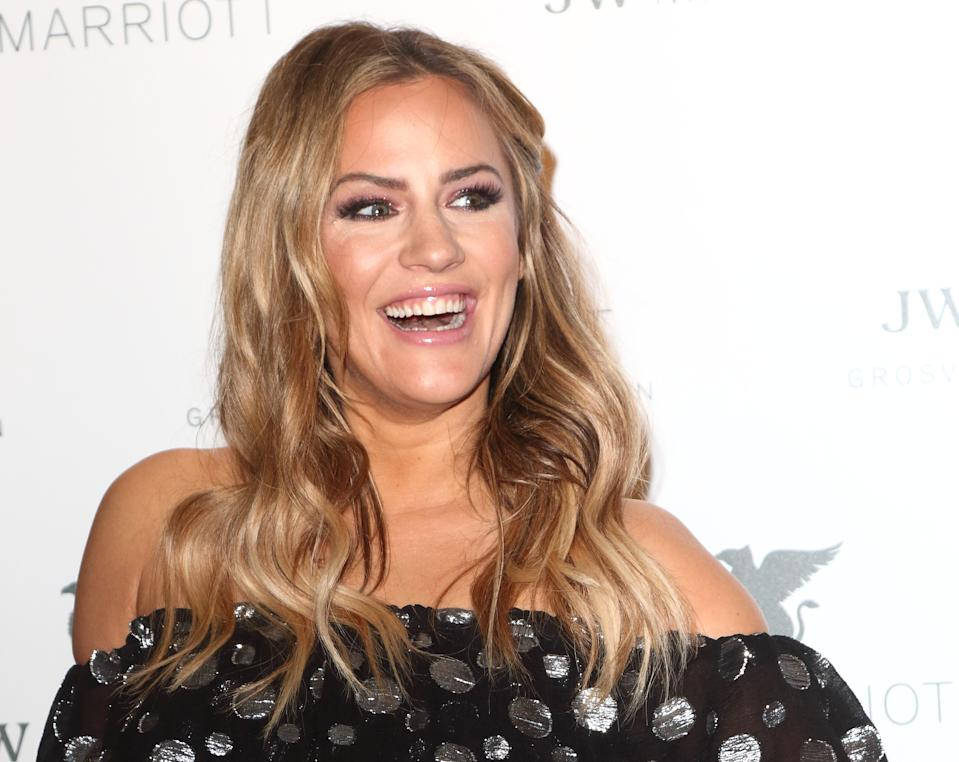 Caroline Flack at the JW Marriott Grosvenor House - 90th anniversary party at the JW Marriott Grosvenor House, Park Lane. (Photo by Keith Mayhew/SOPA Images/LightRocket via Getty Images)