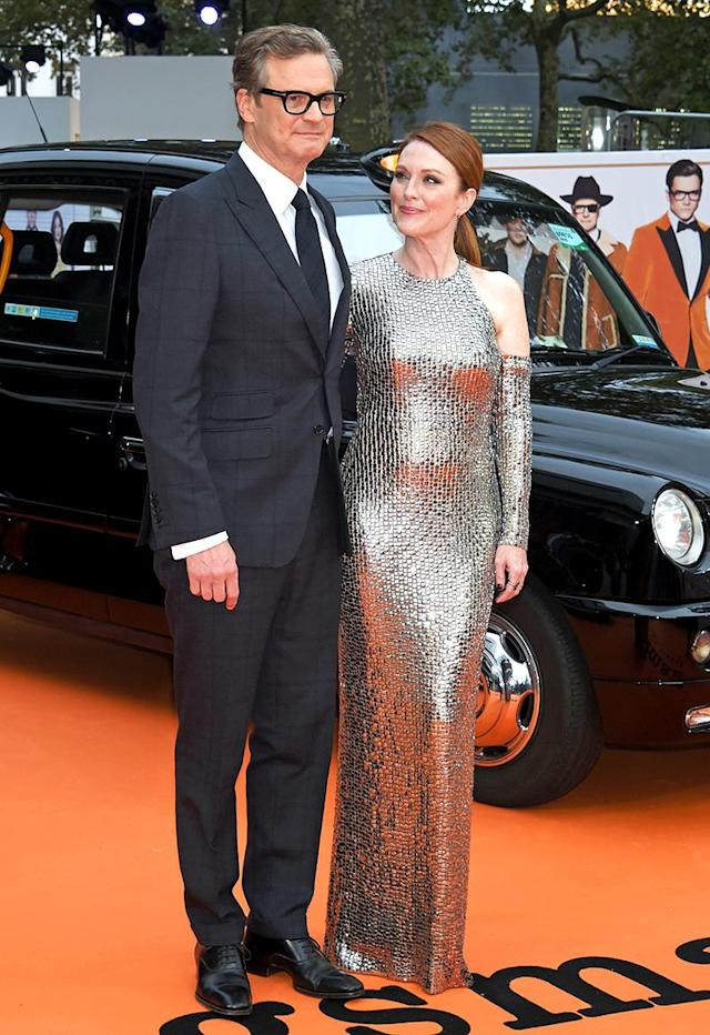 <p>The <em>Kingsman: The Golden Circle</em> co-stars slayed on the red carpet at the movie's London premiere. They haven't looked this amazing together since they shared the screen in Tom Ford's <em>A Single Man </em>in 2010. (Photo: David M. Benett/Dave Benett/WireImage) </p>