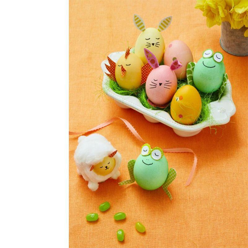 "<p>Say hello to spring with these farm friends! Dye hardboiled eggs green, pink, orange, and yellow. Print <a href=""https://www.womansday.com/home/crafts-projects/a18837631/easter-egg-templates/"" rel=""nofollow noopener"" target=""_blank"" data-ylk=""slk:templates"" class=""link rapid-noclick-resp"">templates</a> of the animals' features. Print out on corresponding colored paper and cut. Attach features using craft glue.</p><p><strong>For bunny ears, chick wings, and frog eyes and legs:</strong> fold back 1/8'' at base to glue to egg. Let dry and adjust as needed.</p><p><strong>For the lamb:</strong> unravel 3 cotton balls. Brush egg with glue, avoiding the narrow top, which will be the face. Smooth cotton to cover egg. Once dry, add pompoms for feet and tail.Draw faces with a <a href=""https://www.amazon.com/Sharpie-37001-Permanent-Markers-Ultra/dp/B00006IFI3/?tag=syn-yahoo-20&ascsubtag=%5Bartid%7C10070.g.2216%5Bsrc%7Cyahoo-us"" rel=""nofollow noopener"" target=""_blank"" data-ylk=""slk:fine point permanent marker"" class=""link rapid-noclick-resp"">fine point permanent marker</a>.</p><p><em> <a href=""https://www.womansday.com/home/crafts-projects/a18837631/easter-egg-templates/"" rel=""nofollow noopener"" target=""_blank"" data-ylk=""slk:Get the Animals Critters templates."" class=""link rapid-noclick-resp"">Get the Animals Critters templates.</a></em></p>"