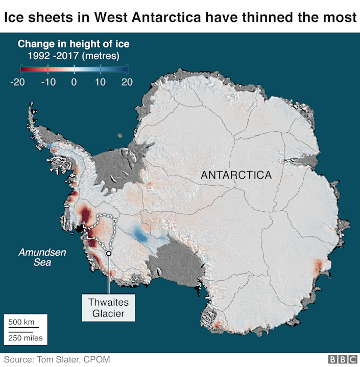 Map showing ice sheets in West Antarctica have thinned the most