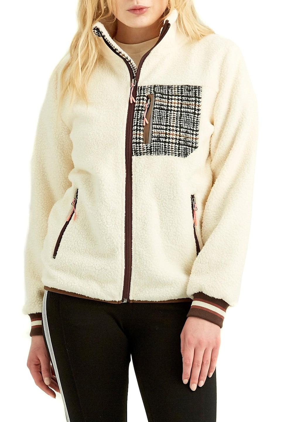 <p>You'll feel snug and ready to step out in this <span>Boundless North Faux Shearling Accent Pocket Jacket</span> ($30, originally $89).</p>