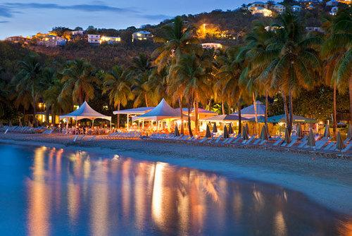 The beach scene at night at the Westin Hotel & Resort on St. John