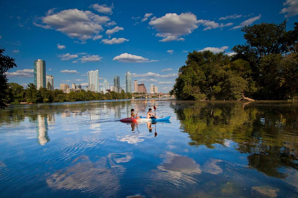 Perhaps the best way to get around Austin, Texas, involves a paddle. Several outfitters along the Colorado River rent kayaks, canoes and paddleboards.