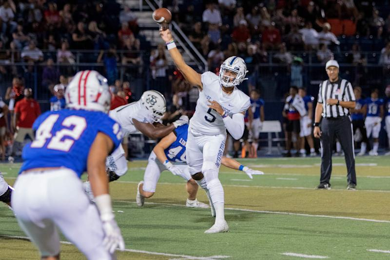 DJ Uiagalelei throws a pass during a St. John Bosco game. (Courtesy Louis Lopez/St. John Bosco High School)