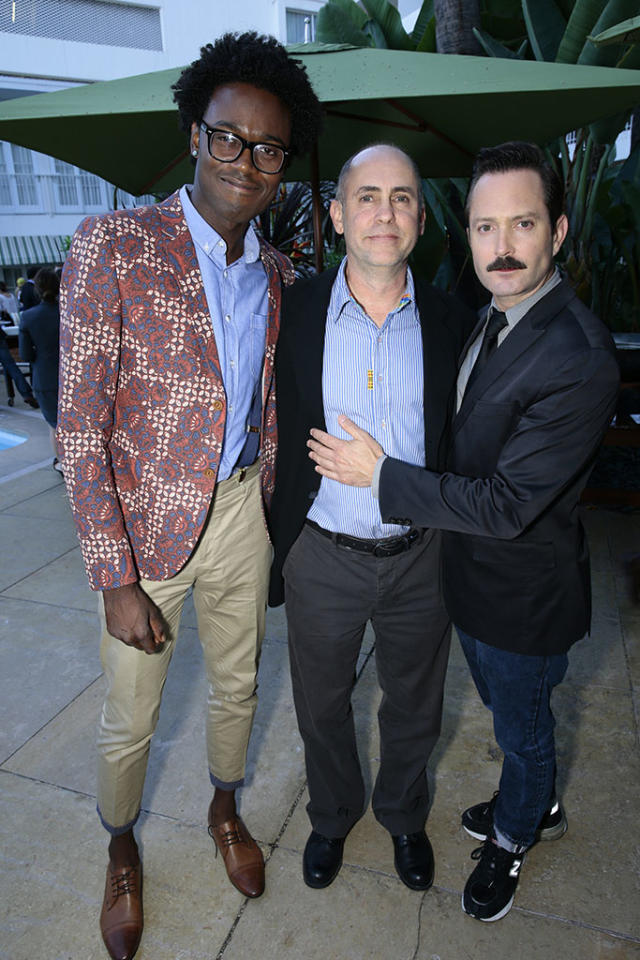"Echo Kellum, Executive Producer Victor Fresco, and Thomas Lennon (""Sean Saves the World"") at the NBC Cocktail Reception during the 2013 Summer Television Critics Association tour."