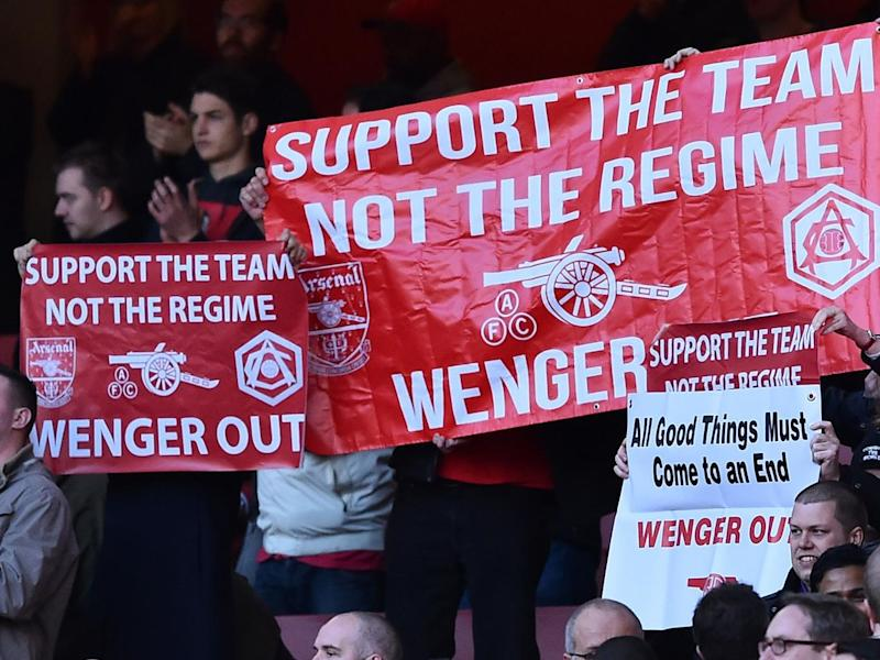 A section of Arsenal's support is vocally 'Wenger Out' (Getty)