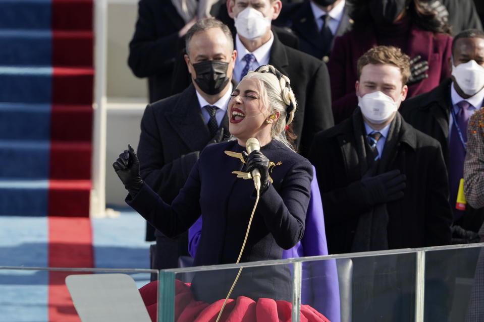 Lady Gaga sings the National Anthem during the 59th Presidential Inauguration at the U.S. Capitol in Washington, Wednesday, Jan. 20, 2021. (AP Photo/Patrick Semansky, Pool)