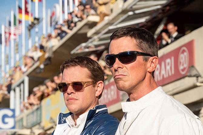 Matt Damon y Christian Bale en Le Mans '66 (Merrick Morton; TM and © 2019 Twentieth Century Fox Film Corporation)