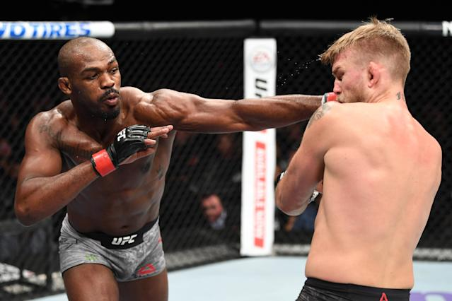 Jon Jones punches Alexander Gustafsson in their light heavyweight title bout during the UFC 232 event inside The Forum on Dec. 29, 2018 in Inglewood, California. (Getty Images)