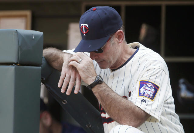 FILE - In this June 11, 2016, file photo, Minnesota Twins manager Paul Molitor takes his eyes off the field during the late innings of the Twins' 15-4 loss to the Boston Red Sox in a baseball game, in Minneapolis. The Minnesota Twins fired Paul Molitor on Tuesday, Oct. 2, 2018, one season after he won the American League Manager of the Year award. Molitor has been offered another position within the organization. (AP Photo/Jim Mone, File)