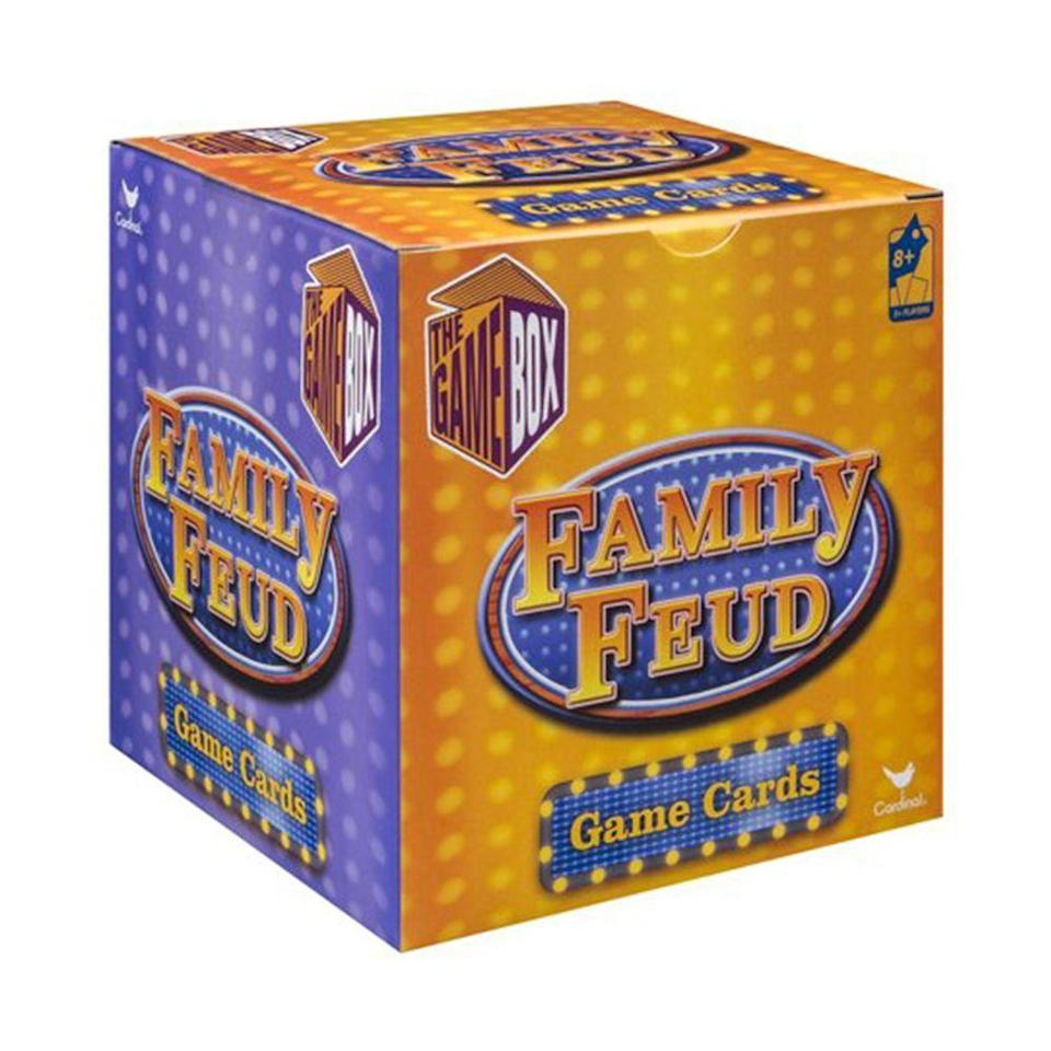 """<p><strong>Family Feud</strong></p><p>amazon.com</p><p><strong>$9.43</strong></p><p><a href=""""https://www.amazon.com/dp/B011IHMX1C?tag=syn-yahoo-20&ascsubtag=%5Bartid%7C2089.g.985%5Bsrc%7Cyahoo-us"""" rel=""""nofollow noopener"""" target=""""_blank"""" data-ylk=""""slk:Shop Now"""" class=""""link rapid-noclick-resp"""">Shop Now</a></p><p>This little cube contains loads of fun for your next family game night. This trivia-box version of the popular game show <em>Family Feud</em> provides hundreds of questions for players to choose from. It never gets old. </p>"""