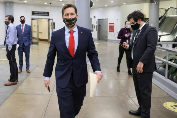 U.S. Senator Ben Sasse (R-NE), walks in the subway system of the U.S. Capitol, in Washington