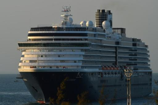 The Westerdam cruise ship arrives at the port in Sihanoukville