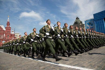 Russian servicemen march during Victory Day parade at Red Square in Moscow