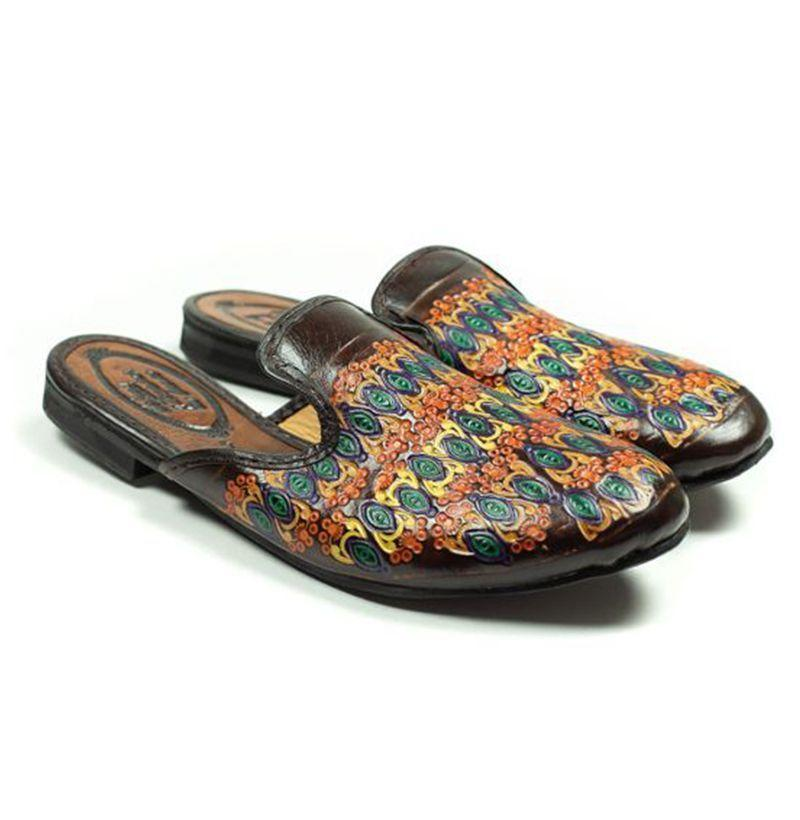 """<p><strong>Niche</strong></p><p>nomanwalksalone.com</p><p><strong>$255.00</strong></p><p><a href=""""https://nomanwalksalone.com/shopby/new-items/nelson-slip-on-mules-in-multi-color-embossed-brown-leather.html"""" rel=""""nofollow noopener"""" target=""""_blank"""" data-ylk=""""slk:Buy"""" class=""""link rapid-noclick-resp"""">Buy</a></p>"""
