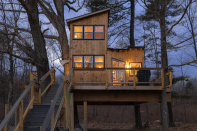 """<p><strong><a href=""""https://www.airbnb.com/rooms/46677438"""" rel=""""nofollow noopener"""" target=""""_blank"""" data-ylk=""""slk:Bluebird Farm Treehouse"""" class=""""link rapid-noclick-resp"""">Bluebird Farm Treehouse</a>: Willington, Connecticut</strong></p><p>This gorgeous treehouse is expansive, unique and features a huge deck for hanging out outside, as well as plenty of windows to make it feel like you're sleeping outdoors. It's also located on a functioning farm, so you'll see wildlife and you'll have access to a garden gazebo. </p>"""