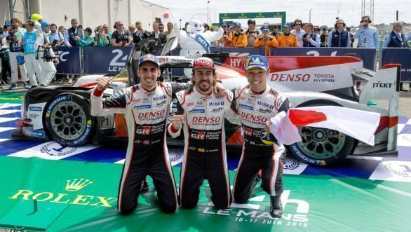 No.8 crew with Kazuki Nakajima, Sebastien Buemi and Fernando Alonso take victory at the 24 hour extravaganza