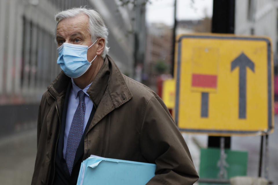 European Union chief Brexit negotiator Michel Barnier walks to the Conference Centre in London. Photo: Kirsty Wigglesworth/AP