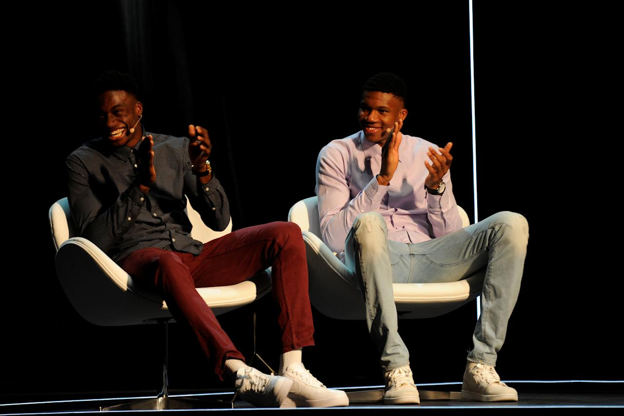 Greek basketball players, brothers Thanassis (L) and Giannis (R) Antetokounmpo attend an event at the Onassis Cultural Centre in Athens, Greece, June 24, 2017. Picture taken June 24, 2017.  REUTERS/Michalis Karagiannis