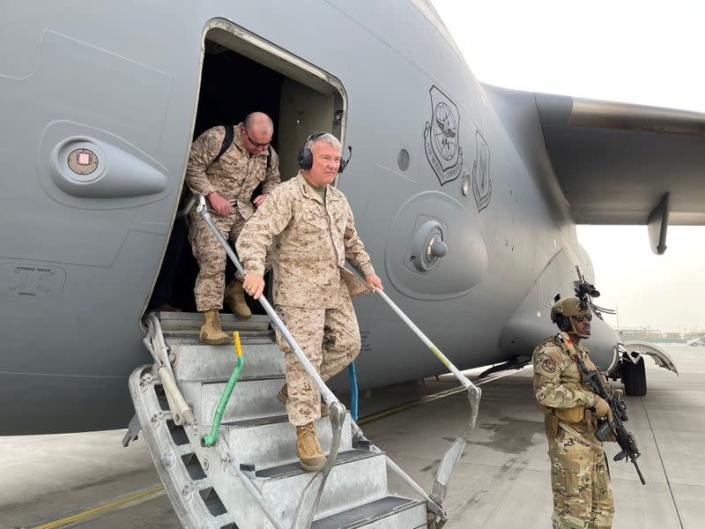 U.S. Marine Corps Gen. Frank McKenzie, the commander of U.S. Central Command, arrives at Hamid Karzai International Airport, in Kabul, Afghanistan