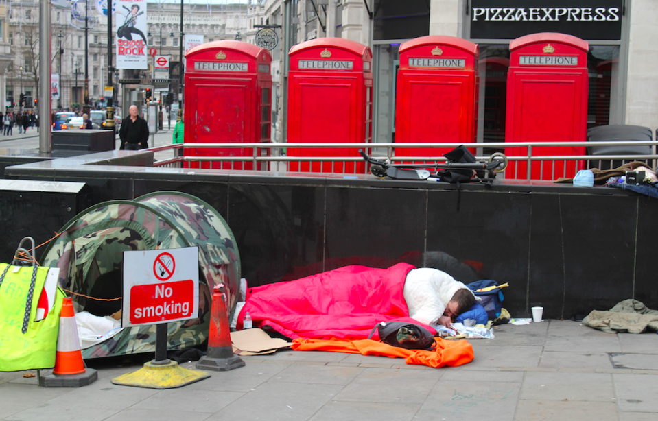 Rates of homelessness in the UK have soared in the last five years (Rex)