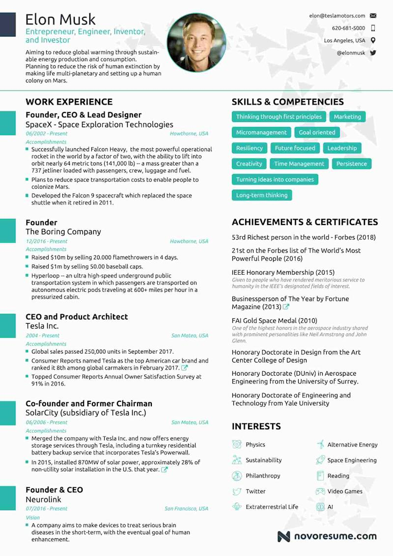 Elon Musks Resume Is Out And It Is Giving Everyone Serious Resume