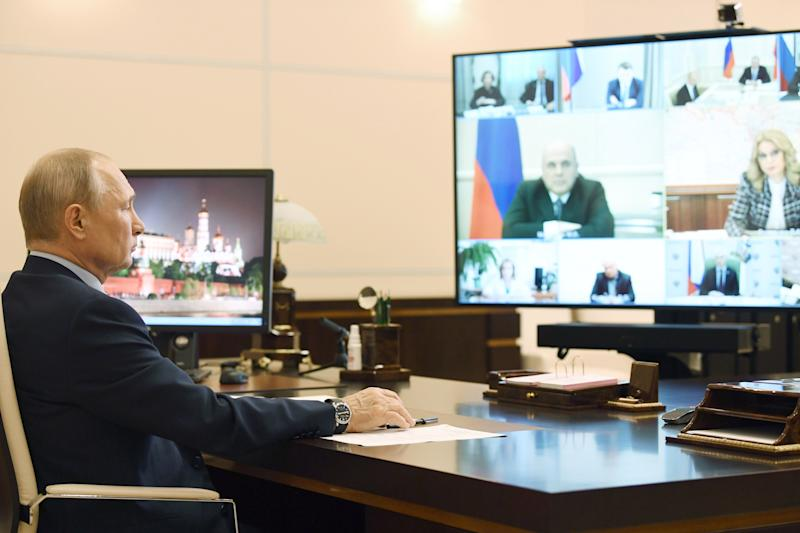 MOSCOW REGION, RUSSIA - MAY 22, 2020: Russia's President Vladimir Putin holds a meeting via video link from Novo-Ogarevo residence to discuss the current epidemiological situation. Alexei Nikolsky/Russian Presidential Press and Information Office/TASS (Photo by Alexei Nikolsky\TASS via Getty Images)