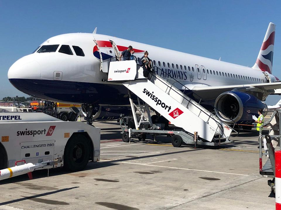 Half full: British Airways Airbus A320 at Dublin airport. The IAG group filled 49.2% of seats in the first half of 2021 (Simon Calder)