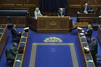 DUP leader Edwin Poots, bottom left, at a special sitting of the Stormont Assembly on Thursday