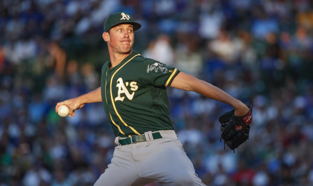 Oakland Athletics starting pitcher Chris Bassitt delivers against the Chicago Cubs during the first inning of a baseball game, Monday, Aug. 5, 2019, in Chicago. (AP Photo/Kamil Krzaczynski)