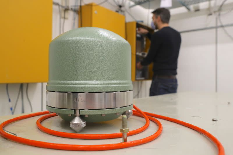 Broadband seismometer is seen at seismic observatory Degenried of the Swiss Seismological Service in Zurich