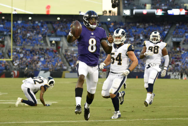 "<a class=""link rapid-noclick-resp"" href=""/nfl/players/31002/"" data-ylk=""slk:Lamar Jackson"">Lamar Jackson</a> has looked rough around the edges this Preseason, but he remains a fascinating late-round grab for fantasy purposes. (AP Photo/Nick Wass)"