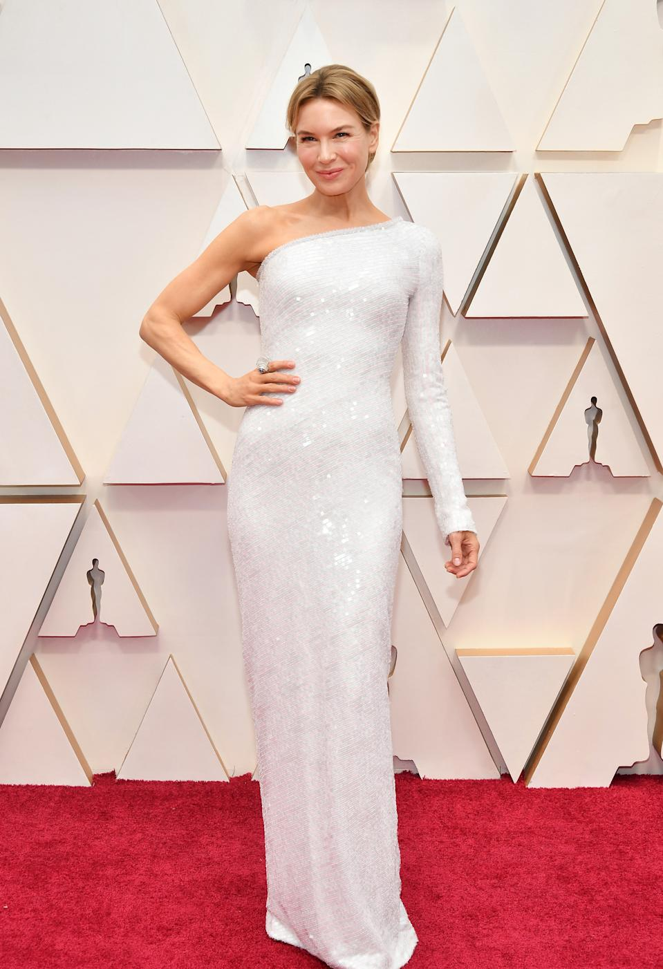 """The """"Judy"""" star and favourite to nab the award for Best Actress kept things simple in an asymmetrical gown by Armani Privé."""