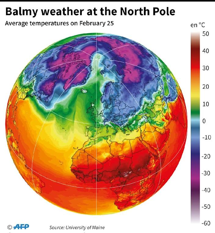 Temperatures at the earth's surface on February 25 at 1200 GMT. (AFP Photo/Simon MALFATTO)