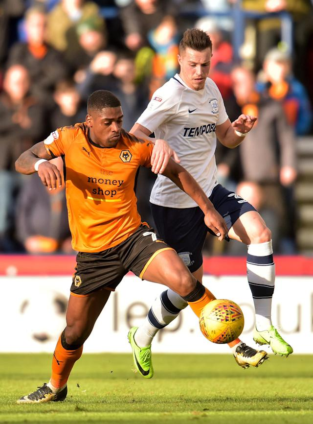 "Soccer Football - Championship - Preston North End vs Wolverhampton Wanderers - Deepdale, Preston, Britain - February 17, 2018 Wolverhampton Wanderers' Ivan Cavaleiro in action with Preston's Billy Bodin Action Images/Paul Burrows EDITORIAL USE ONLY. No use with unauthorized audio, video, data, fixture lists, club/league logos or ""live"" services. Online in-match use limited to 75 images, no video emulation. No use in betting, games or single club/league/player publications. Please contact your account representative for further details."