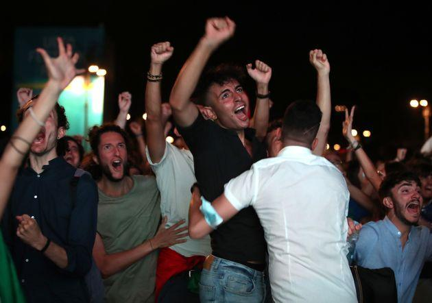 Soccer Football - Euro 2020 - Final - Fans gather for Italy v England - Rome, Italy - July 11, 2021 Italy fans celebrate after their first goal REUTERS/Yara Nardi (Photo: YARA NARDI via REUTERS)