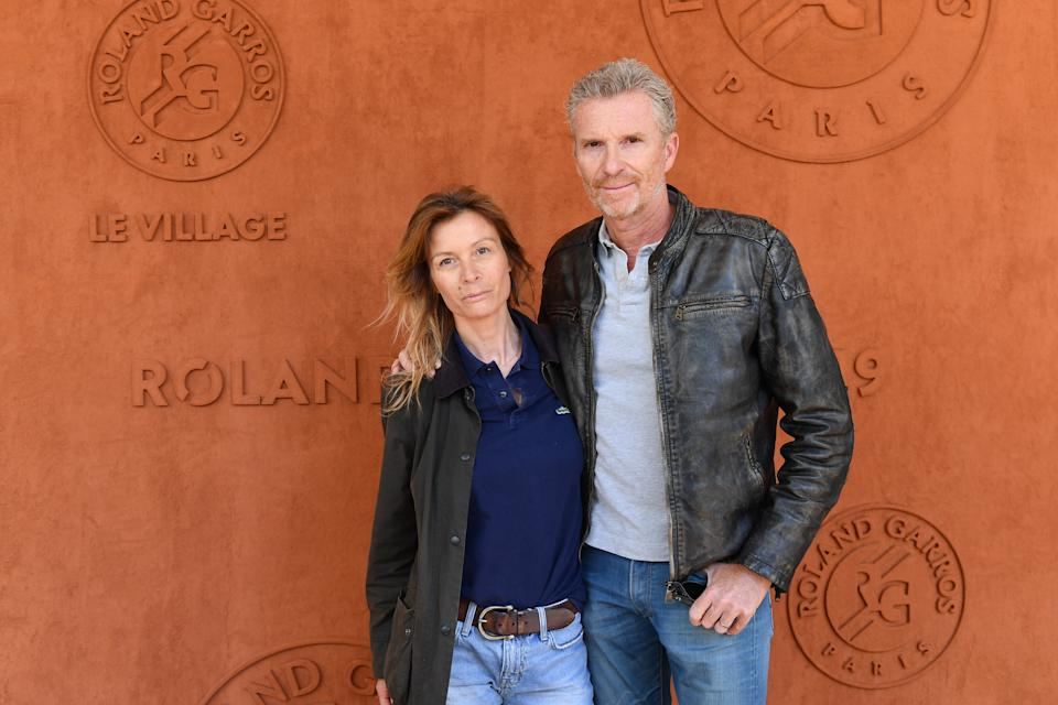 PARIS, FRANCE - JUNE 06:  Tv presenter Denis Brogniart  and his wife Hortense attend the 2019 French Tennis Open - Day Twelve at Roland Garros on June 06, 2019 in Paris, France. (Photo by Stephane Cardinale - Corbis/Corbis via Getty Images)