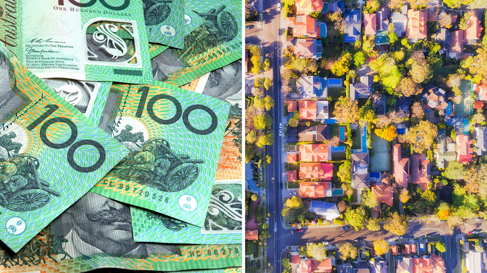 Arial view of property and Aussie dollars. Source: Getty Images