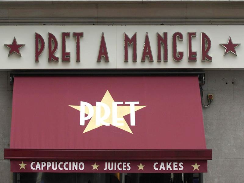 General view of a Pret a Manger store sign on Oxford Street in London.
