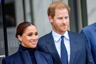 """<p>The Duke and Duchess of Sussex have embarked on a tour of New York, marking their first string of public appearances since relocating to the States in early 2020. It's their first trip together to the city, during which they've already visited the <a href=""""https://www.harpersbazaar.com/uk/celebrities/news/a37705634/prince-harry-meghan-markle-nyc-deblasio-visit/"""" rel=""""nofollow noopener"""" target=""""_blank"""" data-ylk=""""slk:One World Observatory in Manhattan,"""" class=""""link rapid-noclick-resp"""">One World Observatory in Manhattan,</a> paid their respects at the 9/11 Memorial Museum, <a href=""""https://www.harpersbazaar.com/uk/culture/culture-news/a37741413/harry-meghan-speech-global-citizen-live/"""" rel=""""nofollow noopener"""" target=""""_blank"""" data-ylk=""""slk:appeared on stage at the Global Citizen Live festival"""" class=""""link rapid-noclick-resp"""">appeared on stage at the Global Citizen Live festival</a> in Central Park, and made a visit to a school in Harlem. </p><p>The couple are known for using their platform to highlight important global issues that they believe in. Their New York visit was no different as it was planned around their Global Citizen Live appearance, during which they gave a passionate speech calling for global vaccine equity.</p><p>""""Every single person on this planet has a fundamental right to get this vaccine,"""" <a href=""""https://www.harpersbazaar.com/uk/culture/culture-news/a37741413/harry-meghan-speech-global-citizen-live/"""" rel=""""nofollow noopener"""" target=""""_blank"""" data-ylk=""""slk:Meghan said."""" class=""""link rapid-noclick-resp"""">Meghan said.</a> """"That's the point. But that's not happening. And while in this country and many others you can go almost anywhere and get vaccinated, billions of people around the world cannot.""""</p><p>In addition to their work drawing attention to worthwhile causes, the duchess has also been showcasing a series of immaculate outfits, proving once again that she's a master in the art of high-low dressing - and that being taken seriously and looking st"""