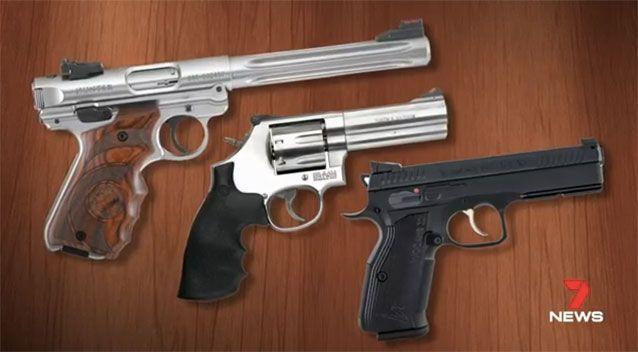 Some of the guns stolen from the store. Picture: 7 News
