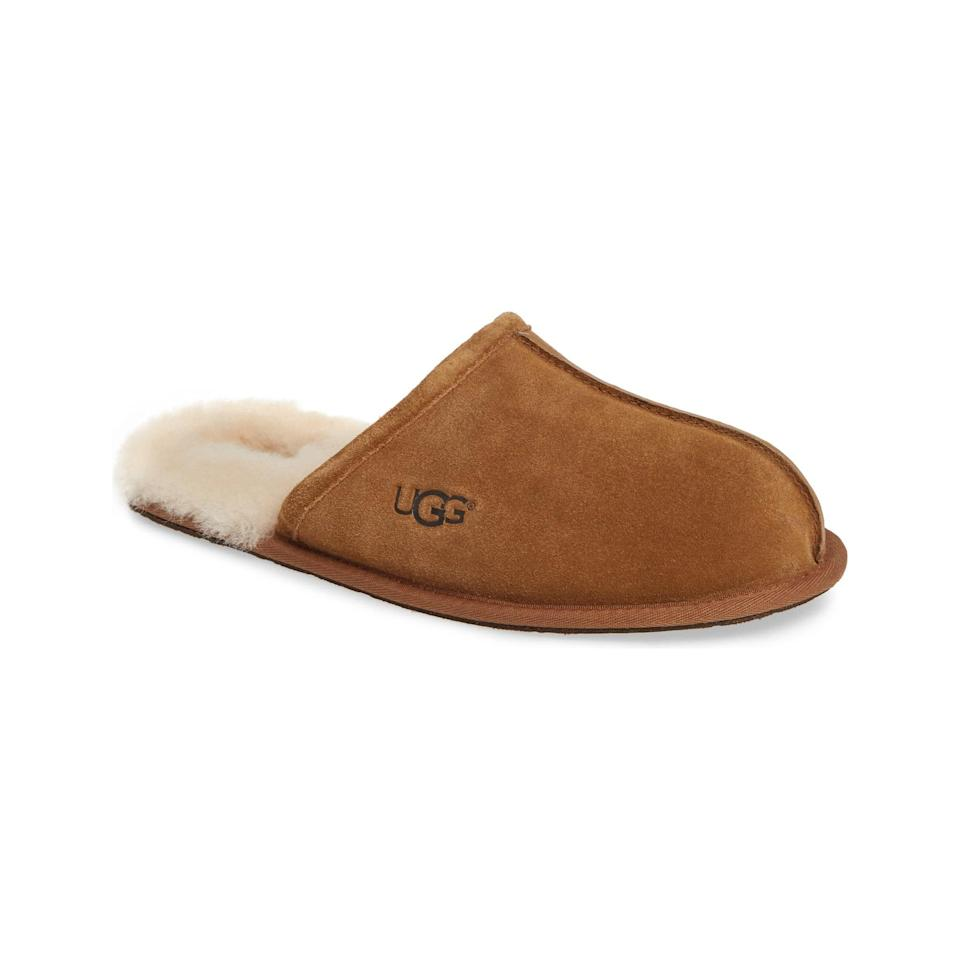"Ideal for long strolls to the mailbox, these suede <a href=""https://www.glamour.com/gallery/best-slippers-for-women?mbid=synd_yahoo_rss"" rel=""nofollow noopener"" target=""_blank"" data-ylk=""slk:slippers"" class=""link rapid-noclick-resp"">slippers</a> are destined to become the winter staple he didn't know he needed. $80, Nordstrom. <a href=""https://www.nordstrom.com/s/ugg-scuff-slipper-men/5704734"" rel=""nofollow noopener"" target=""_blank"" data-ylk=""slk:Get it now!"" class=""link rapid-noclick-resp"">Get it now!</a>"
