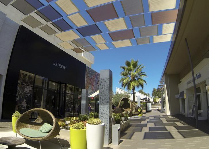 Modern outdoor shopping mall is shown in San Diego, California