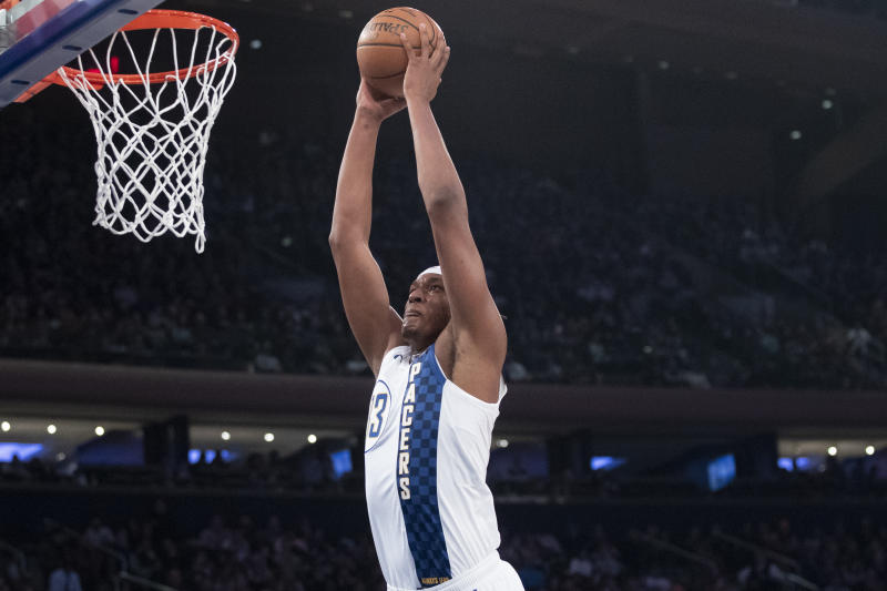 Indiana Pacers center Myles Turner dunks in the first half of an NBA basketball game against the New York Knicks, Saturday, Dec. 7, 2019, at Madison Square Garden in New York. (AP Photo/Mary Altaffer)