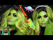 """<p>Be prepared to learn the art of seamlessly blending several shades of green and yellow together to create the glowiest alien ever. If you like to show a little skin in your costume,<strong> this is a great opportunity to take your makeup down your neck and shoulders too.</strong></p><p><a href=""""https://www.youtube.com/watch?v=BP3QCIWn8DI"""" rel=""""nofollow noopener"""" target=""""_blank"""" data-ylk=""""slk:See the original post on Youtube"""" class=""""link rapid-noclick-resp"""">See the original post on Youtube</a></p>"""