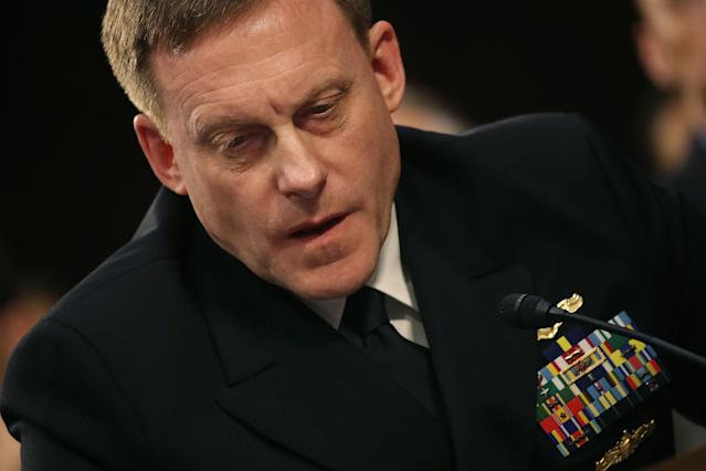 National Security Agency Director Adm. Michael Rogers testifies during a Senate Intelligence Committee hearing on June 7, 2017. (Photo by Mark Wilson/Getty Images)